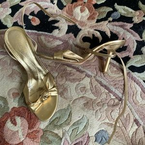 Gold leather KATE SPADE strappy heel size 8